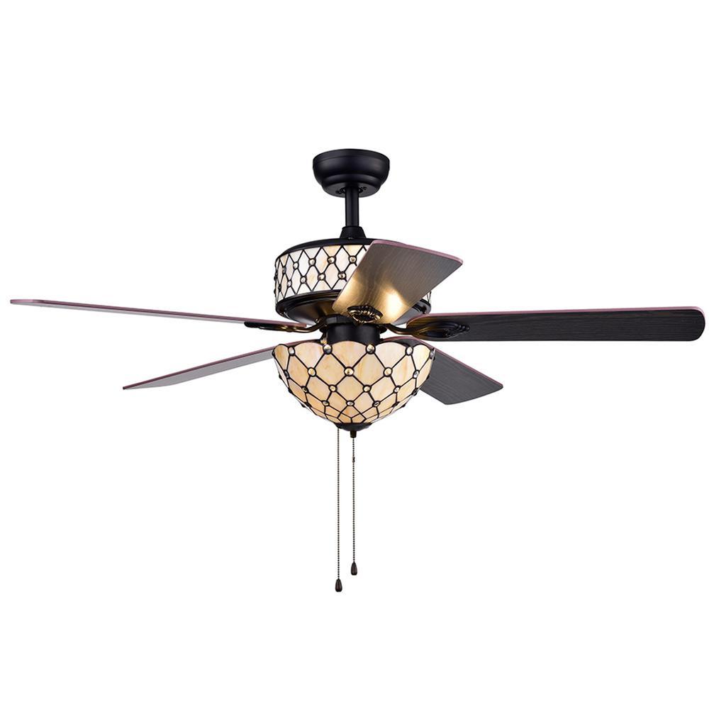 Tohva 52 in. Indoor Matte Black Ceiling Fan with Light Kit