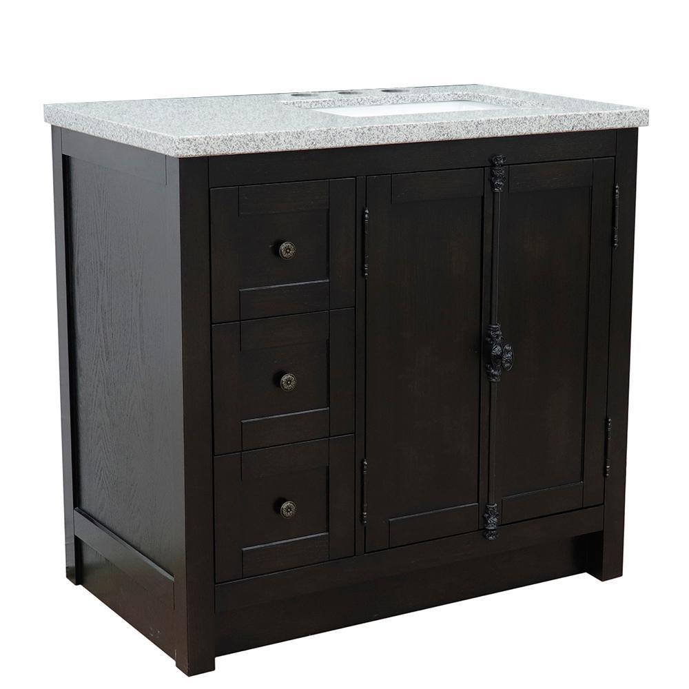 37 in. W x 22 in. D x 36 in. H Bath Vanity in Brown Ash with Gray Granite Vanity Top and Right Side Rectangular Sink