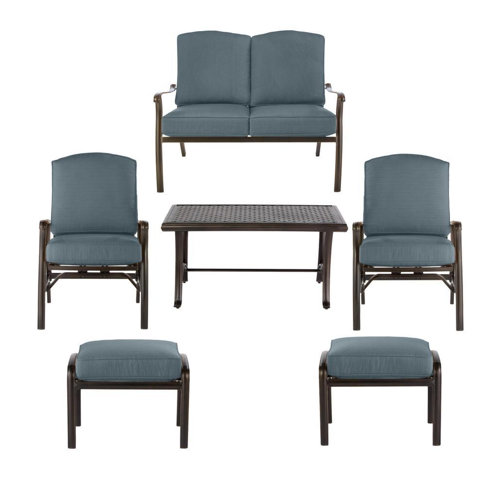 Ridge Falls Dark Brown Aluminum Outdoor Patio Deep Seating Set with Sunbrella Denim Blue Cushions