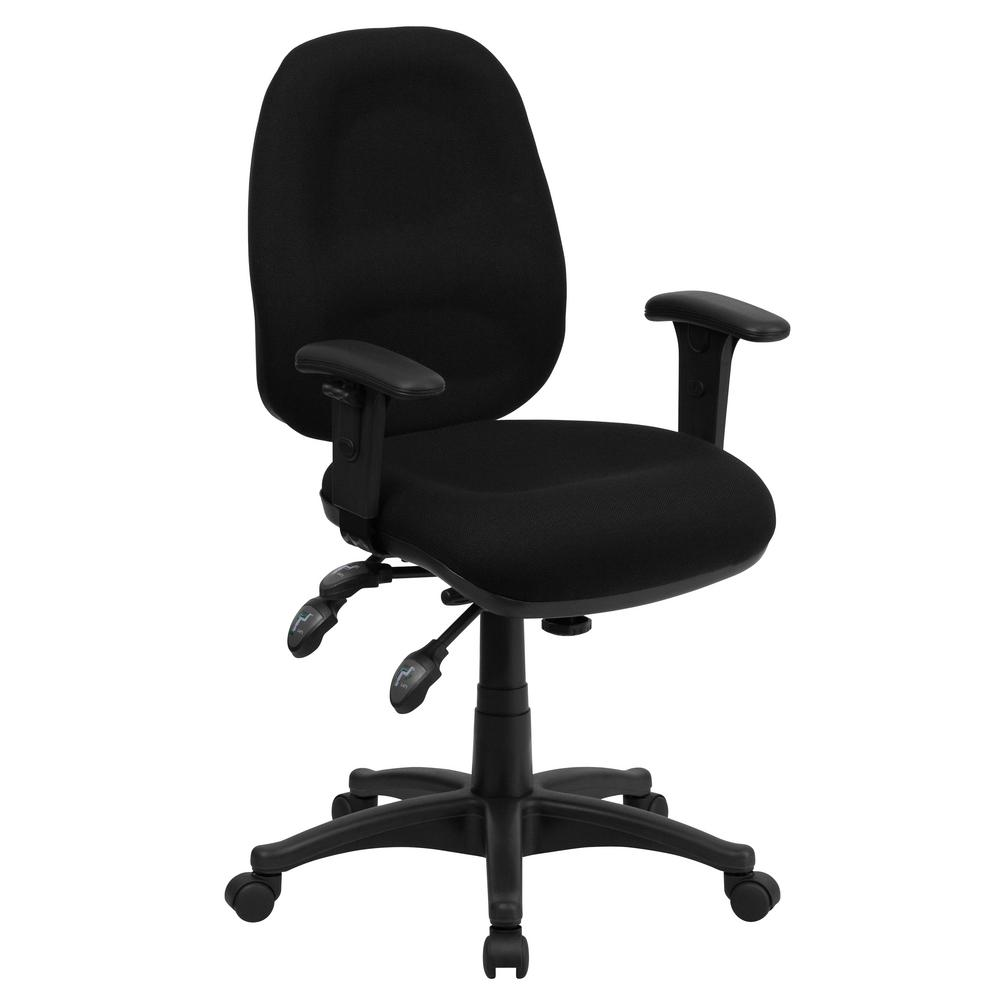 Flash Furniture Mid-Back Multi-Functional Black Fabric Executive ...
