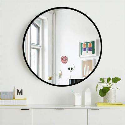 NeuType 32 inches Large Modern and Contemporary Black Aluminum Alloy Metal Framed Round Bathroom/Vanity/Wall Mounting