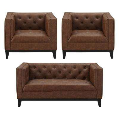 Cadman 3-Piece Camal PU Leather 2-Seat Loveseat and 2 Armchairs