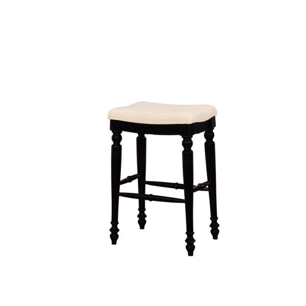 Linon Home Decor Marino 30 in. Black Backless Bar Stool THD01937