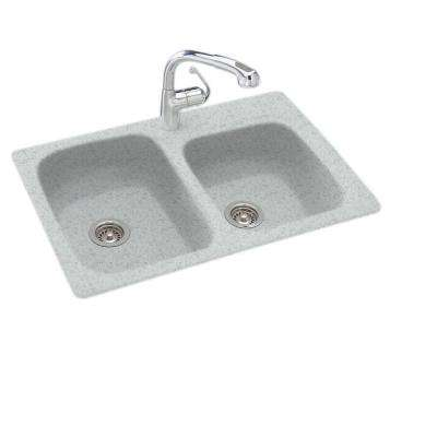Drop-In/Undermount Solid Surface 33 in. 1-Hole 55/45 Double Bowl Kitchen Sink in Tahiti Gray