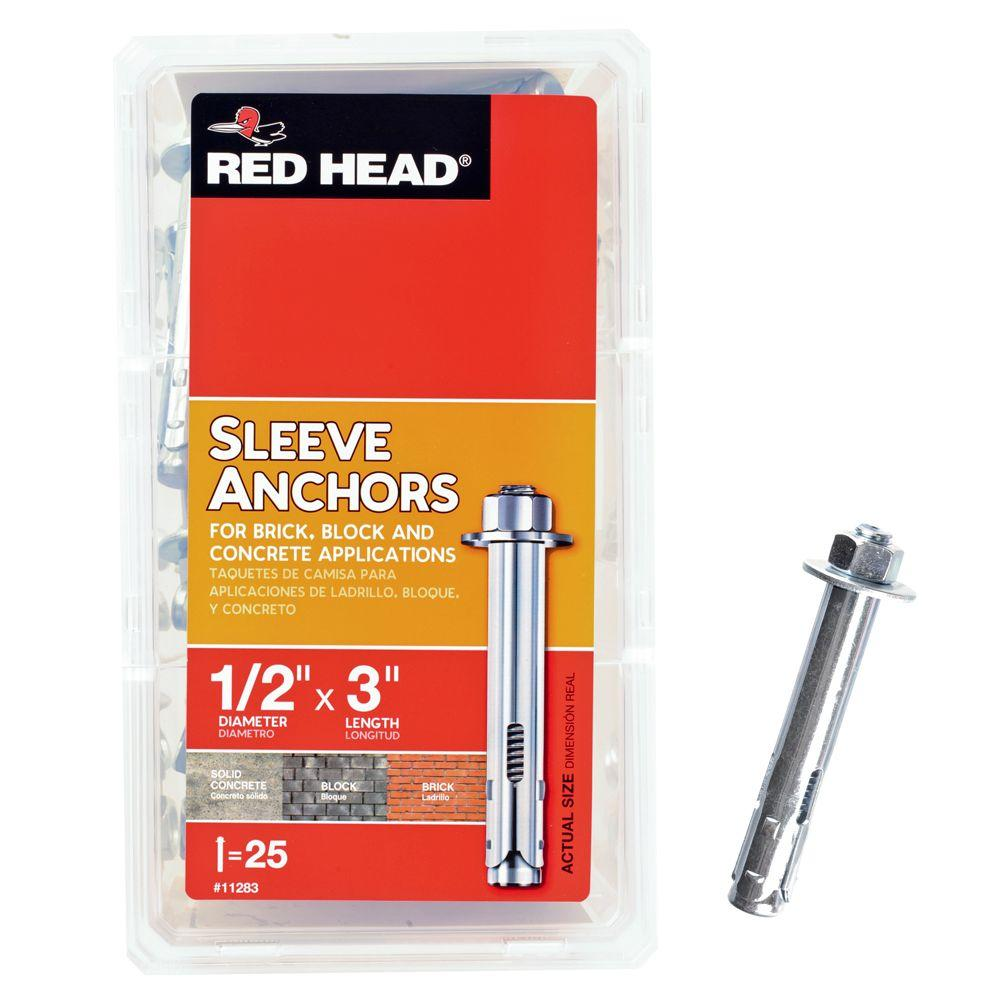 Red Head 1/2 in. x 3 in. Steel Hex-Nut-Head Sleeve Anchors (25-Pack)