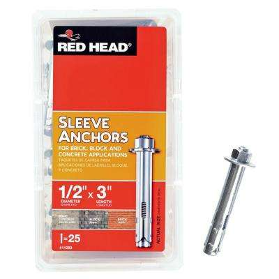 1/2 in. x 3 in. Steel Hex-Nut-Head Sleeve Anchors (25-Pack)