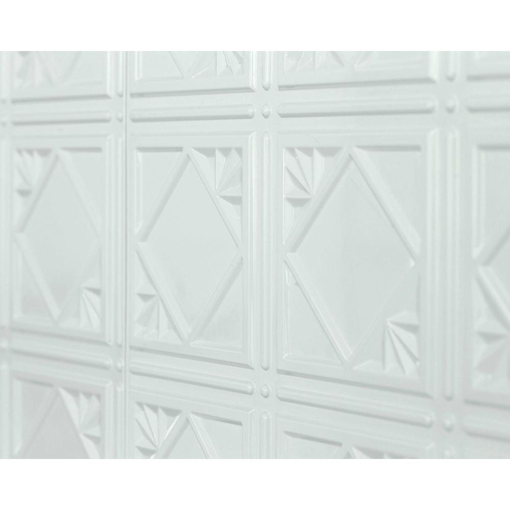 Innovera Decor by Palram Artnouvo 18.5 in. x 24.3 in. PVC Backsplash Panel in Snow White