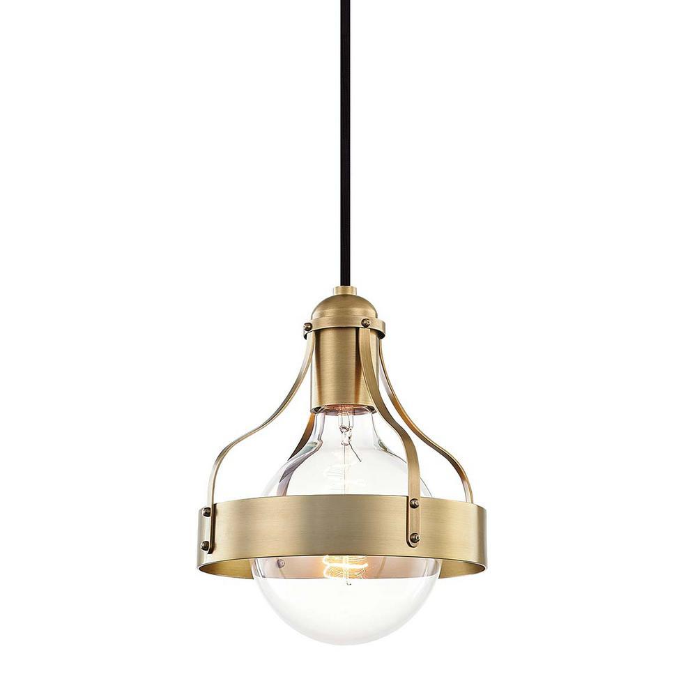 Violet 8.75 in. 1-Light Aged Brass Pendant