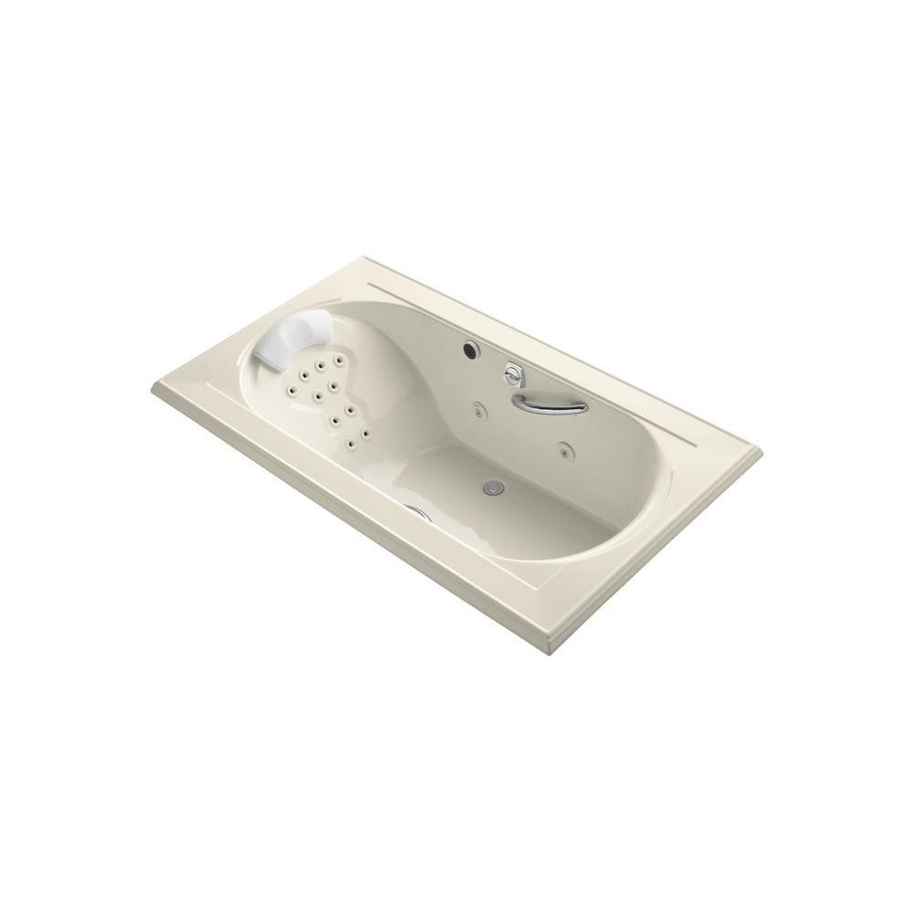KOHLER Memoirs 6 ft. Rectangular Drop-in Whirlpool Tub in Almond