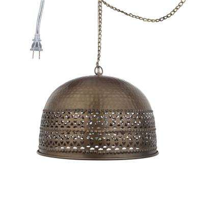 1-Light Antiqued Brass Pierced Metal Pendant with Rolled Edge