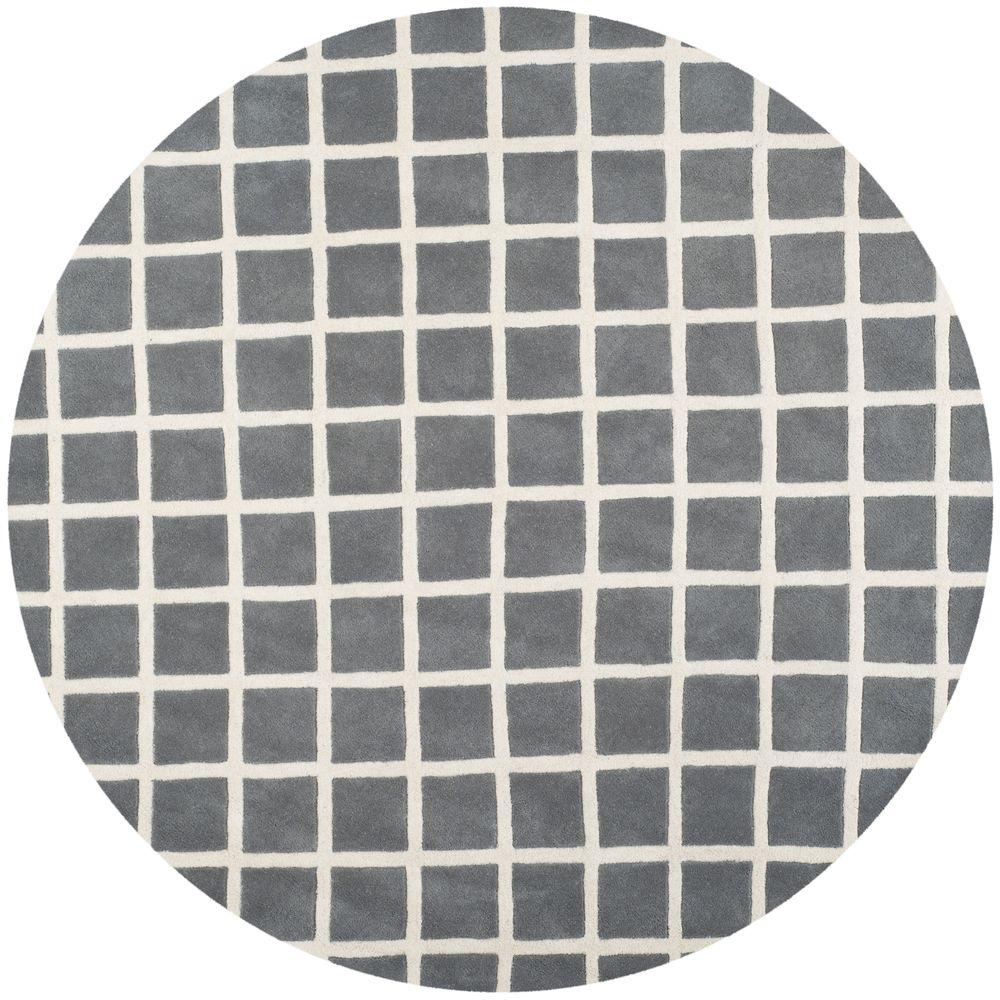safavieh chatham dark grey ivory 7 ft x 7 ft round area rug cht718d 7r the home depot. Black Bedroom Furniture Sets. Home Design Ideas