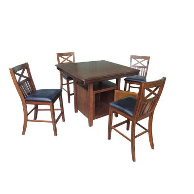 "International Concepts Laurel 3 pc 42"" Gray Taupe Round Drop-Leaf Wood Dining Set"