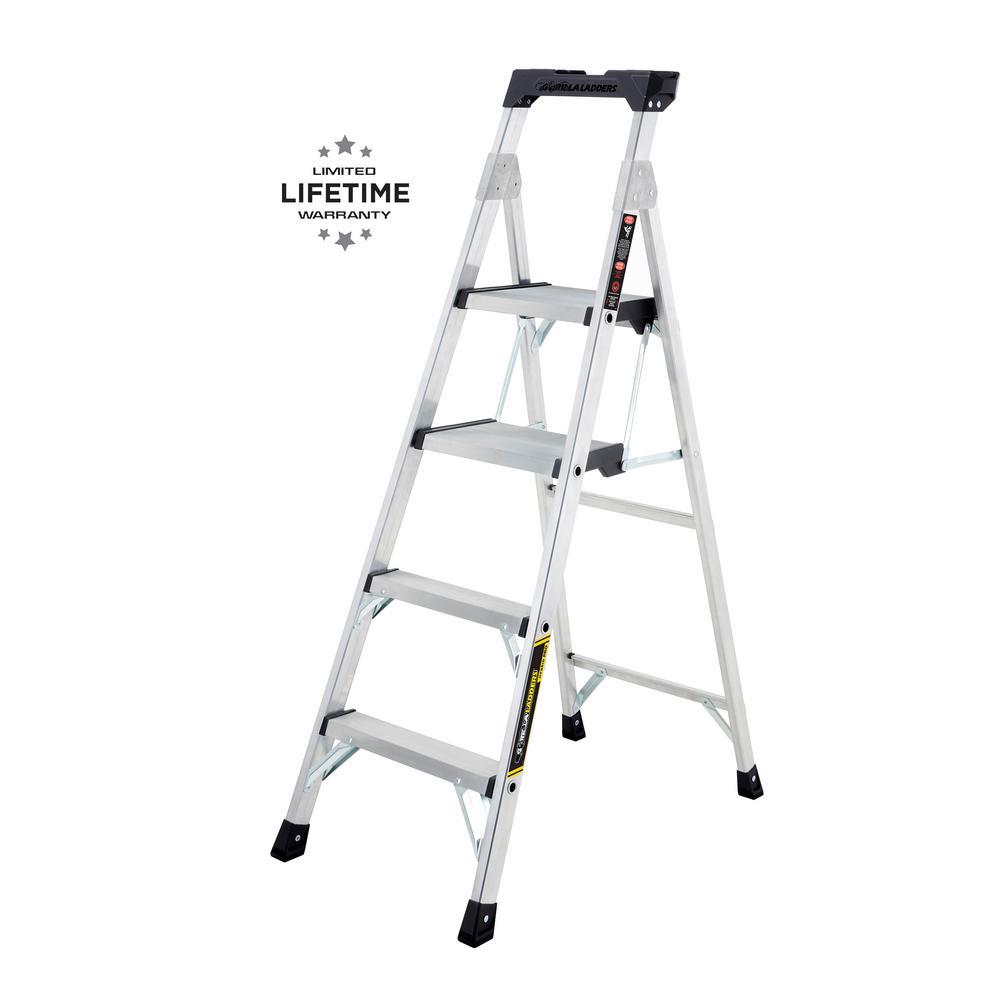 Gorilla Ladders Gorilla Ladders 5.5 ft. Heavy Duty Aluminum PRO Hybrid Ladder with 300 lb. Load Capacity Type IA Duty Rating