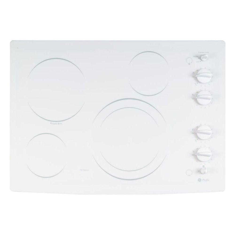GE Profile CleanDesign 30 in. Smooth Surface Radiant Electric Cooktop in White with 4 Elements