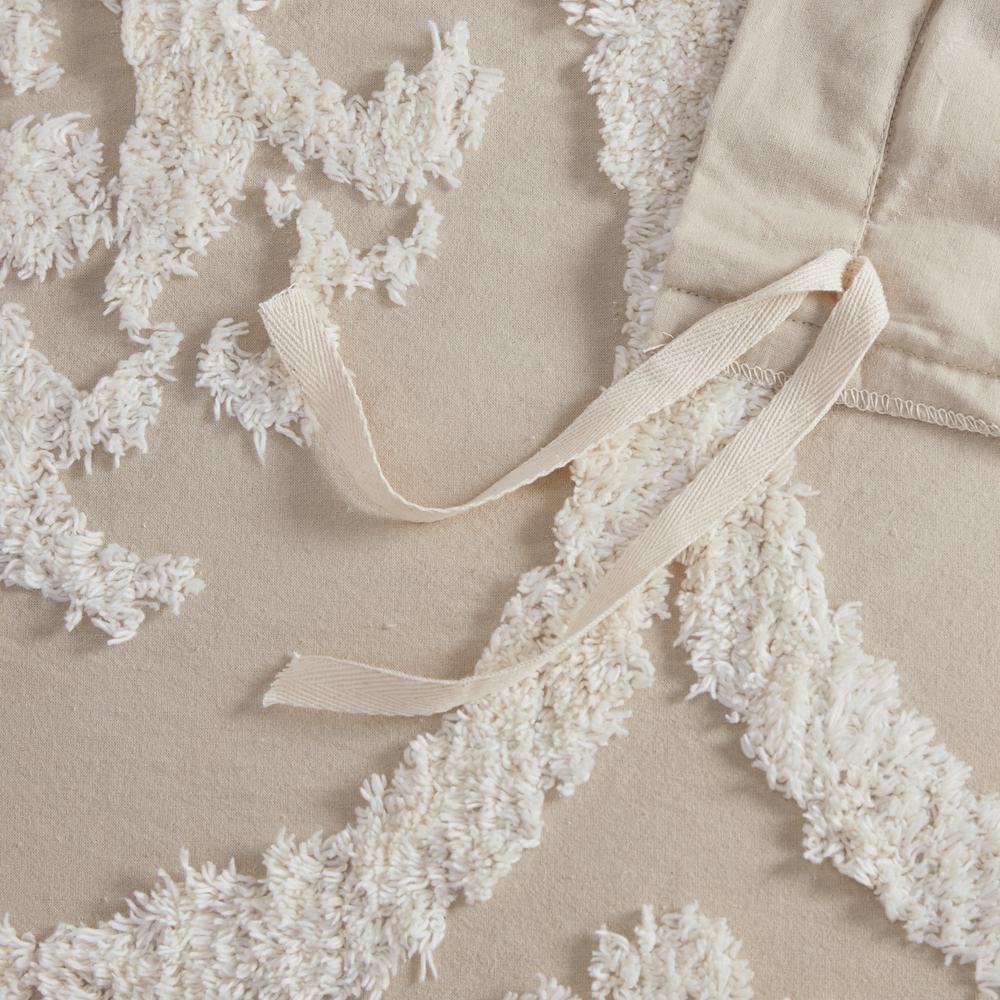 Aeriela 3-Piece Tufted Cotton Chenille Damask Duvet Cover Set