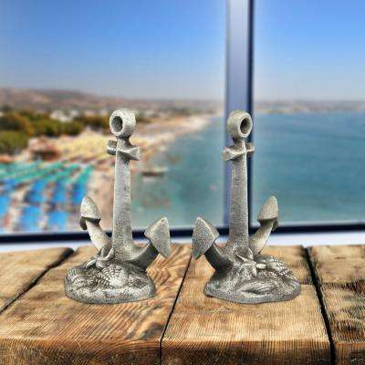 Pewter Cast Iron Anchor Bookends (Set of 2)