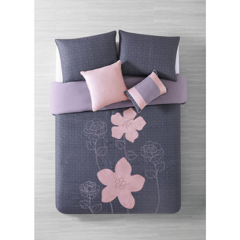 Addison House Rosella 5-Piece Gray Queen Comforter Set RSL5CSFUQUGHGY