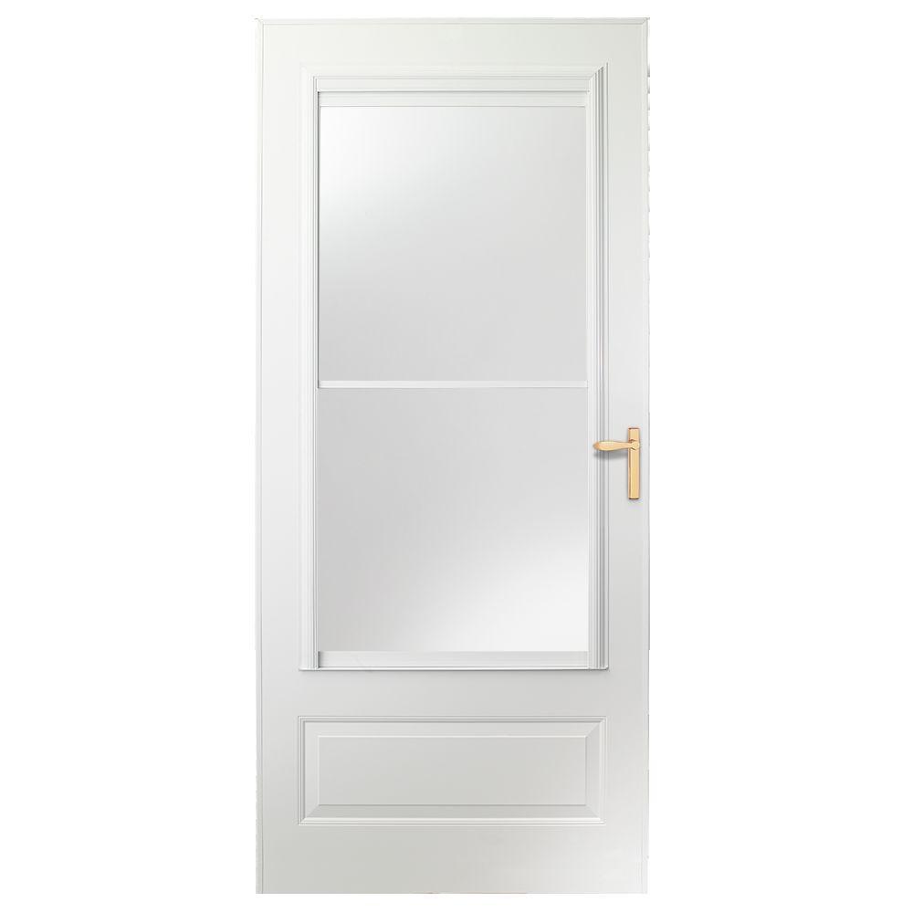 EMCO 30 in. x 80 in. 300 Series White Universal Self-Storing Aluminum Storm Door with Brass Hardware