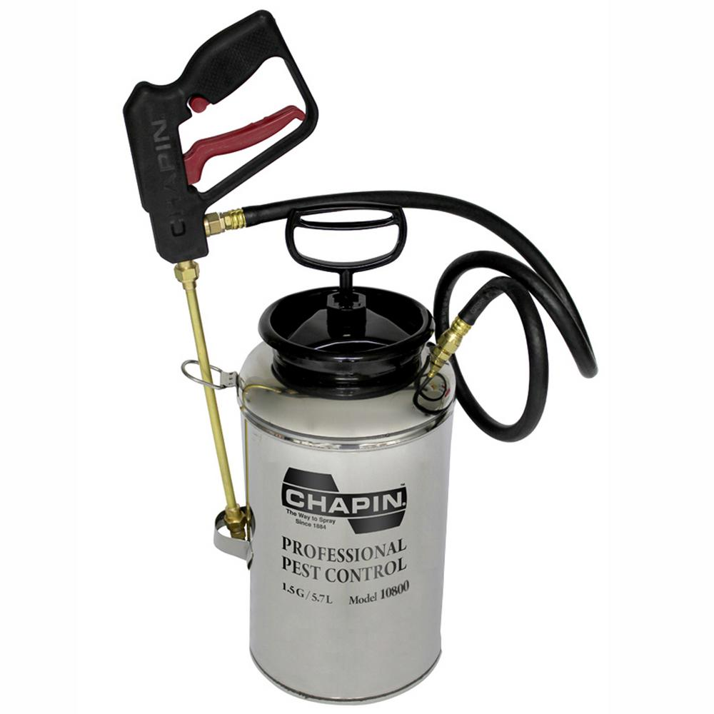 1.5 Gal. Stainless Steel Professional Pest Control Sprayer with Crack/Crevice