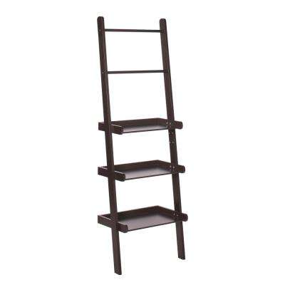12 in. L x 59-1/4 in. H x 20 in. W Freestanding MDF 3-Tier Ladder Shelf in Espresso