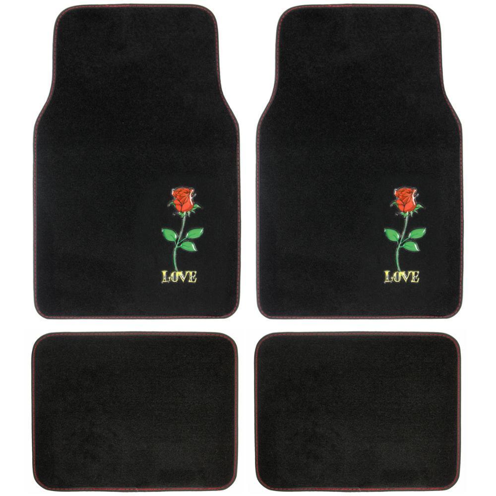 BDK Red Rose Love MT-520 Design 4 Pieces Carpet Car Floor