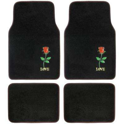 Red Rose Love MT-520 Design 4 Pieces Carpet Car Floor Mats