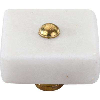 Oceanside 1-1/2 in. White Marble Cabinet Knob