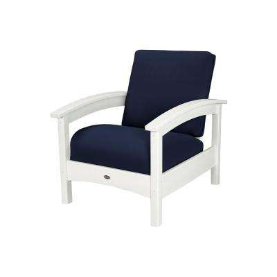 Rockport Classic White All-Weather Plastic Outdoor Lounge Chair with Sunbrella Navy Cushion