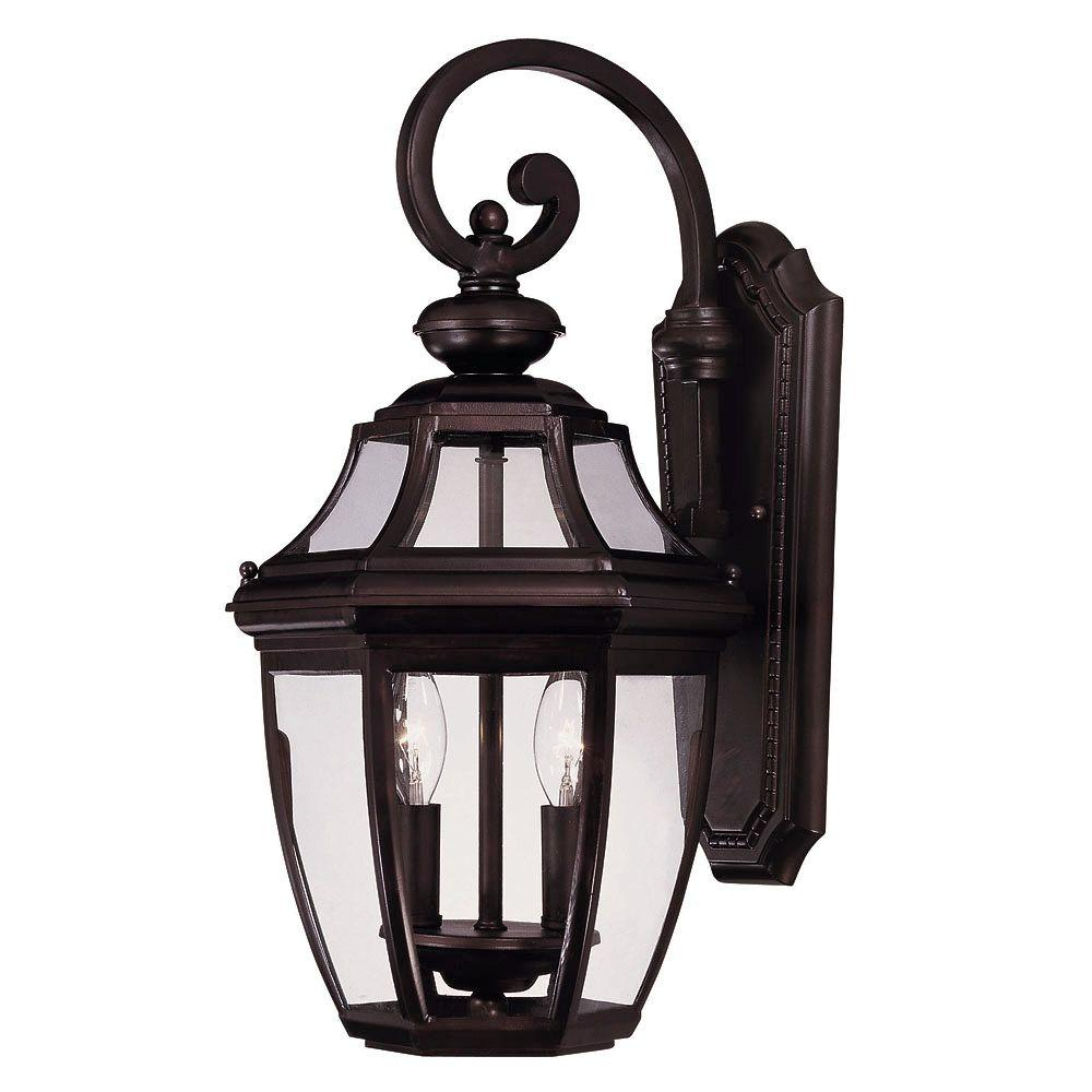 2-Light Wall Mount Lantern English Bronze Finish Clear Glass