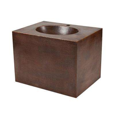 24 in. Wall Mount Copper Vanity with Built-In Bathroom Sink in Oil Rubbed Bronze