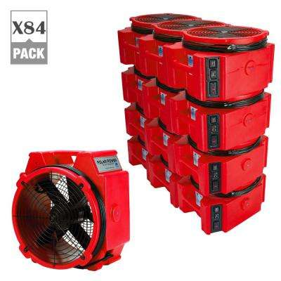 PB-25 1/4 Polar Axial Blower Fan High Velocity Air Mover for Water Damage Restoration in Red (84-Pack)