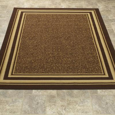 Ottohome Collection Contemporary Bordered Design Brown 5 ft. x 7 ft. Area Rug