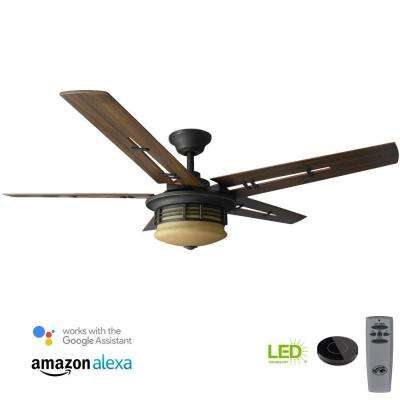 Pendleton 52 in. LED Oil Rubbed Bronze Ceiling Fan with Light Kit Works with Google Assistant and Alexa