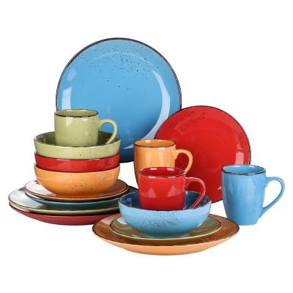 16-Piece Assorted Colors Ceramic Dinnerware Set Plates and Bowls Set Mug Set(Service for 4)