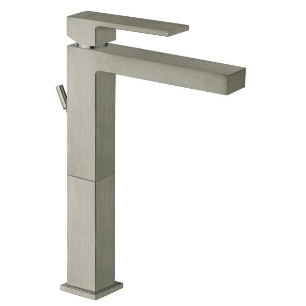 Quadro Single-Hole Single-Handle Tall Vessel Bathroom Faucet in Brushed Nickel