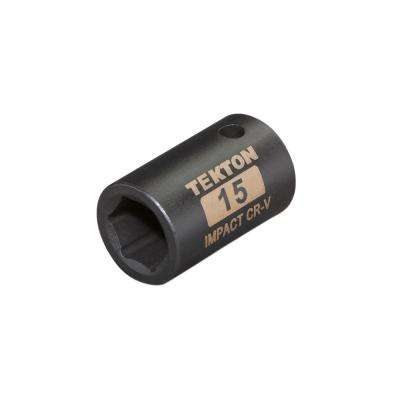 1/2 in. Drive 15 mm 6-Point Shallow Impact Socket