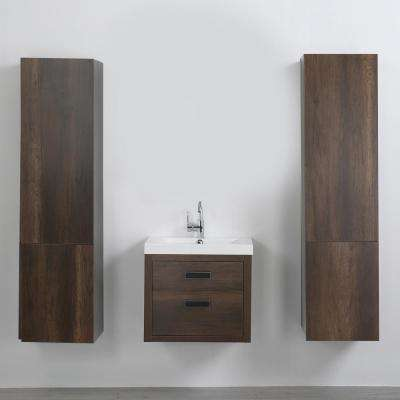 23.6 in. W x 19.4 in. H Bath Vanity in Brown with Resin Vanity Top in White with White Basin