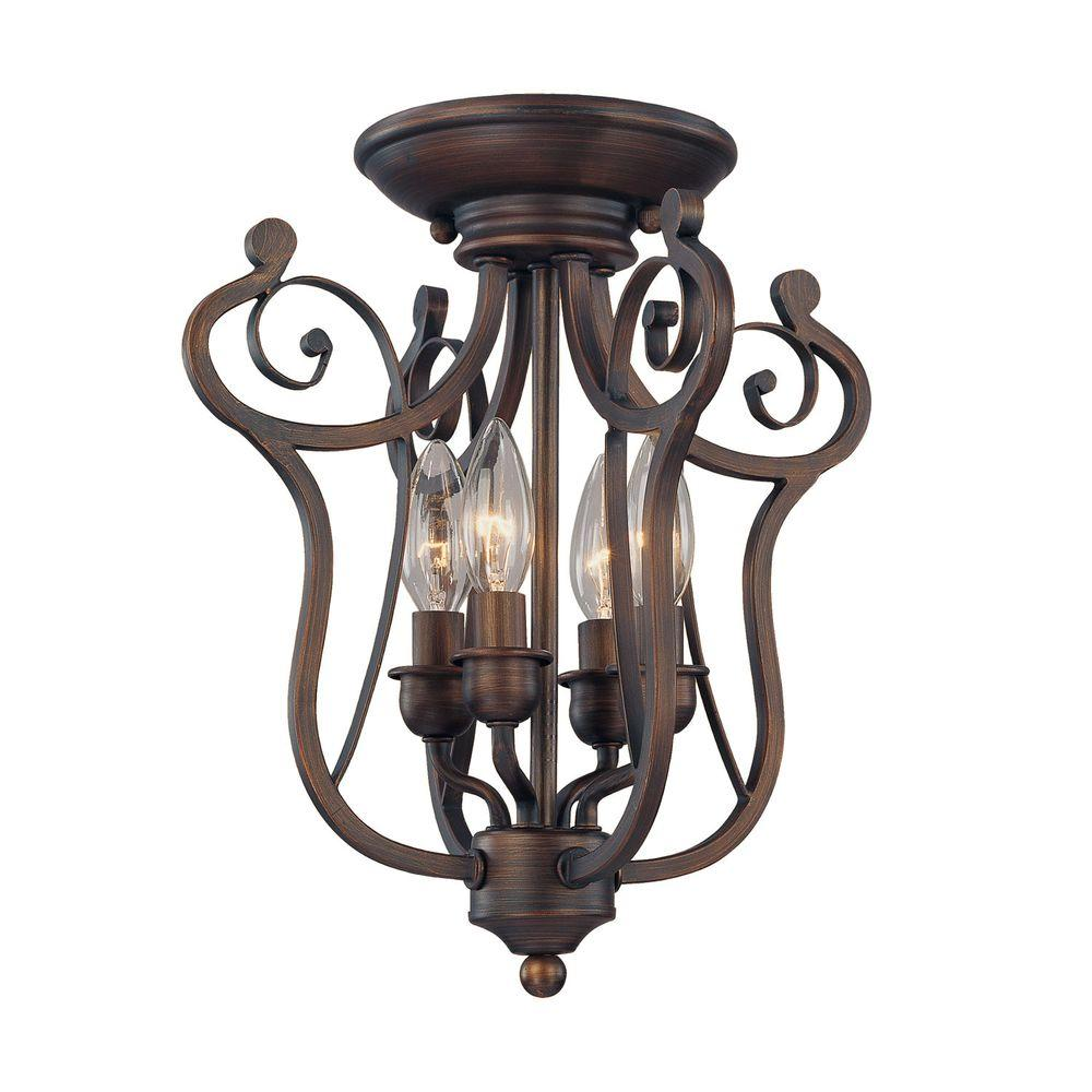 4 Light Rubbed Bronze Candle Semi Flush Mount
