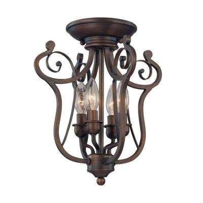 4-Light Rubbed Bronze Candle Semi-Flush Mount Light