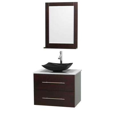 Centra 30 in. Vanity in Espresso with Solid-Surface Vanity Top in White, Black Granite Sink and 24 in. Mirror