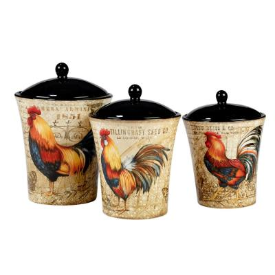 Gilded Rooster 3-Piece Traditional Multi-Colored Ceramic Dinnerware Set (Service for 3)