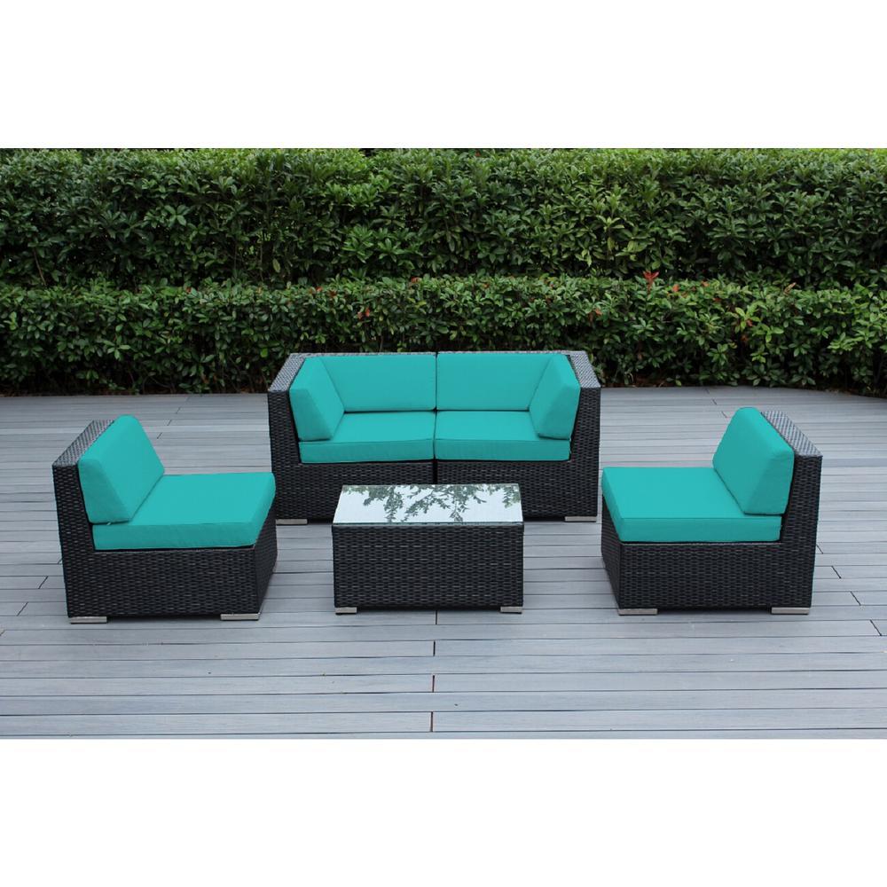 Ohana Black 5-Piece Wicker Patio Seating Set with Spuncrylic Turquoise Cushions