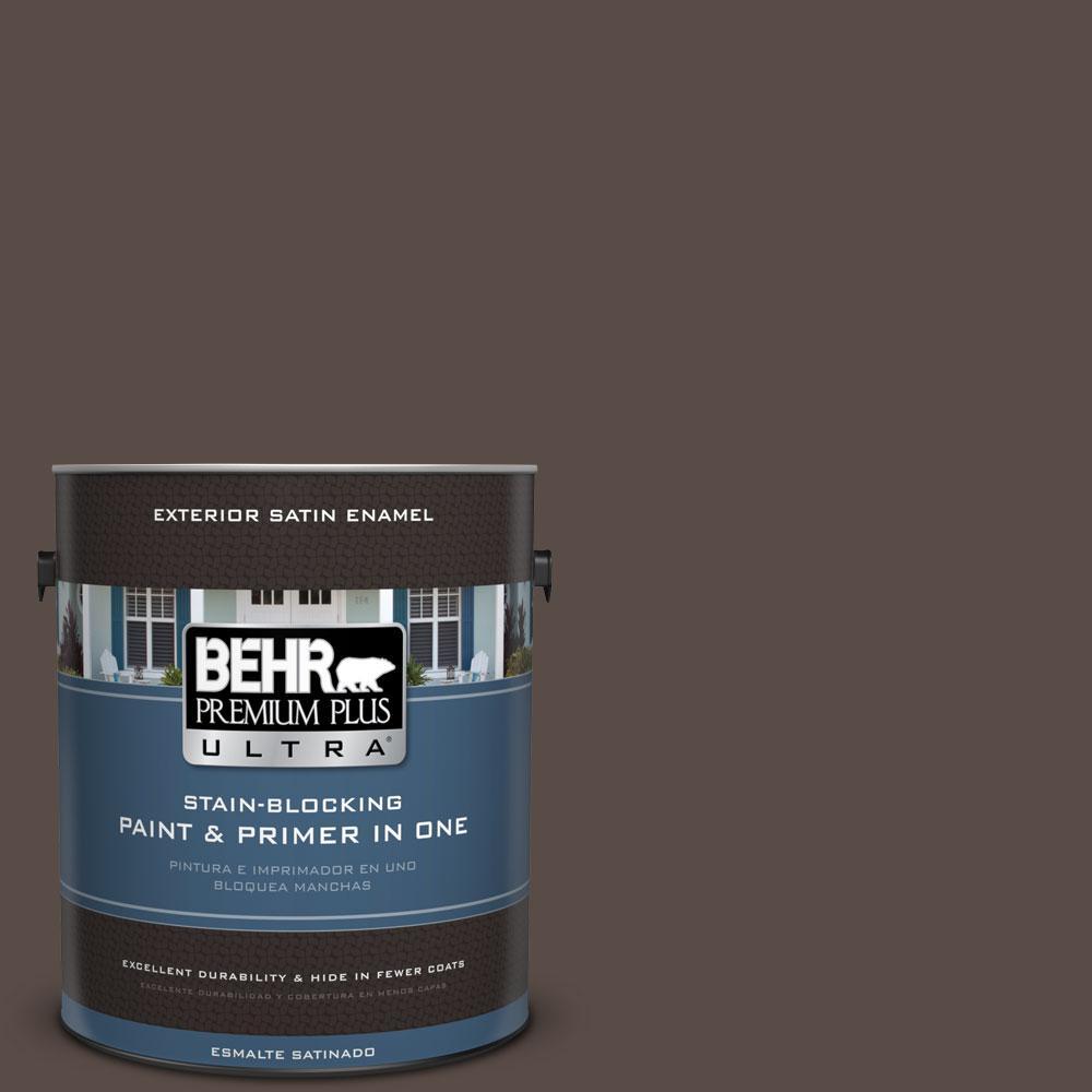 BEHR Premium Plus Ultra 1-gal. #PPU5-19 Dark Truffle Satin Enamel Exterior Paint