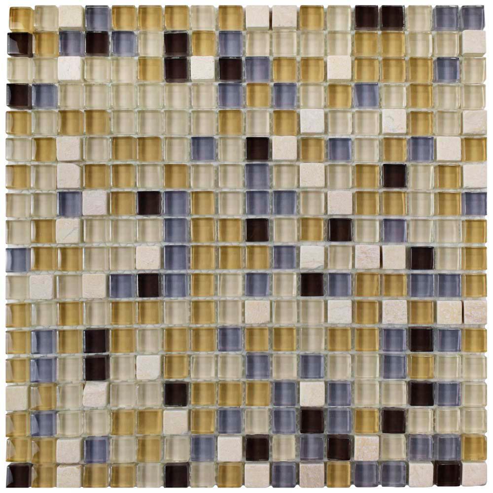 Merola Tile Tessera Mini River 11-3/4 in. x 11-3/4 in. x 8 mm Glass and Stone Mosaic Tile