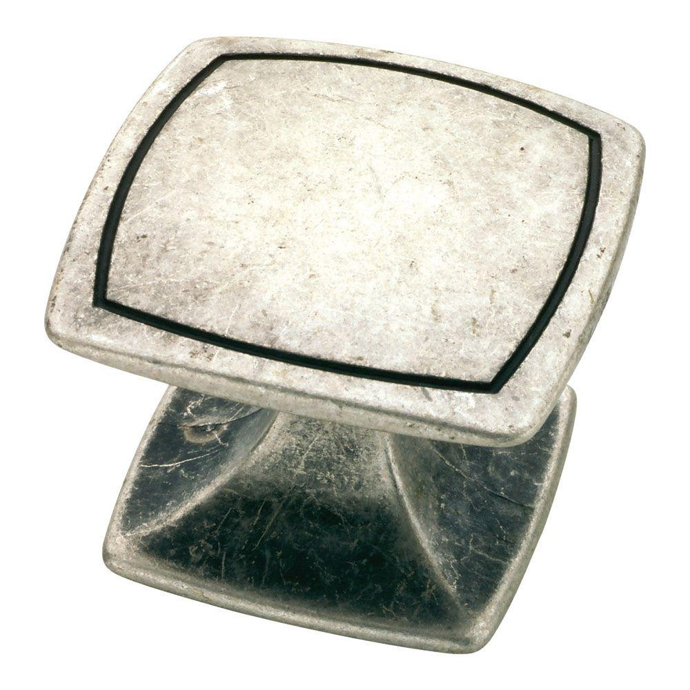Liberty Bellini 1-1/2 in. Old Silver Square Cabinet Knob-DISCONTINUED