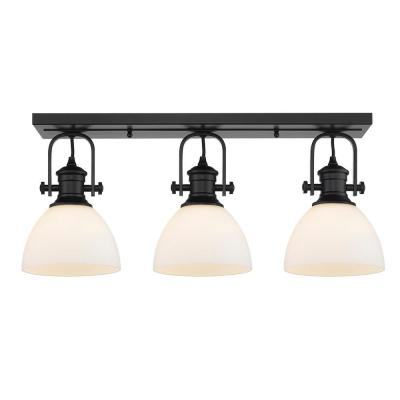 Hines 7 in. Black with Opal Glass 3-Light Semi-Flush Mount