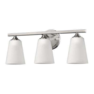 Zoey 3-Light Satin Nickel Vanity Light with Frosted Glass Shades