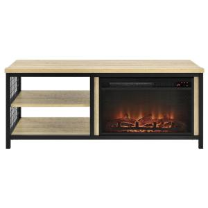 ameriwood north point golden oak 55 in tv stand with fireplace hd81977 the home depot. Black Bedroom Furniture Sets. Home Design Ideas