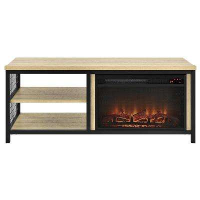North Point Golden Oak 55 in. TV Stand with Fireplace