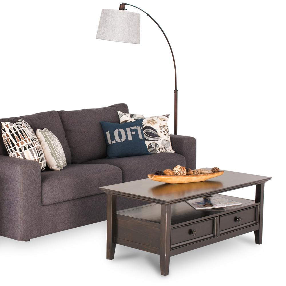 Simpli Home Amherst Dark Brown Storage Coffee Table